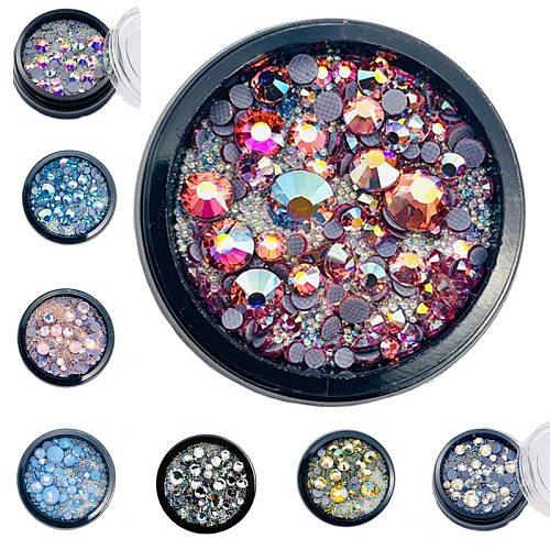1 Jar Colorful Shiny Nails Stone Crystal 3D Nail Art Rhinestone For Nail Design Art Accessories Decorations