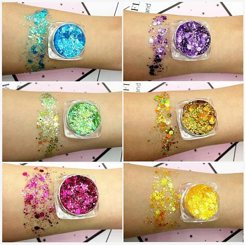 1PC Glitter Pigment Eye Shadow Shimmer Sparkling Diamond Eye Shadow Sequins Mermaid Sequins Gel Makeup Waterproof TSLM1