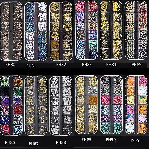 12 Grids /Set Nail Acrylic Nail Stone Beads Mixed Shape Nail Sticker Set Tips Rhinestone For 3d Decoration Nail Rivet JC2R-2345