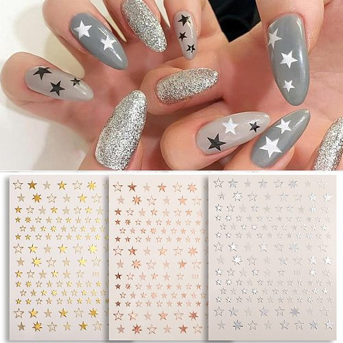 1PC Sliver Gold Glitter Shiny 3D Nail Stickers Slider Stars Nail Art Transfer Adhesive Decals Decoration DIY Tips Accessories
