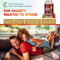 GPGP GreenPeople Bear Hemp Gummies Relieve stress & Anxiety Relief Safe and Natural Bear Fudge Office Snacks /Makeup