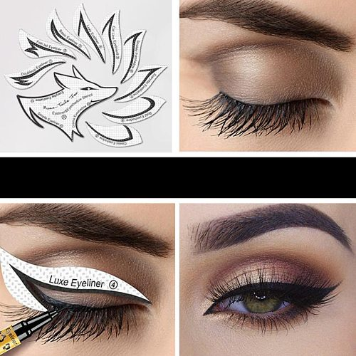24 Pcs Eyeliner Eyeshadow Stencils 2 In 1 Makeup Template Sticker Card 12 Styles Non-Woven 3-Minute Shaping Tool Easy to Use