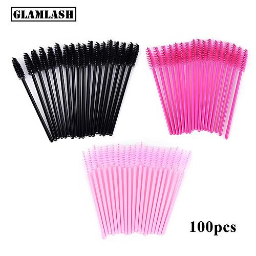 100Pcs Disposable Micro Eyelash Comb Brush Spoolers Makeup Kit lash Extension Brushes Mascara Applicator Wand Lash Eyebrow Brush