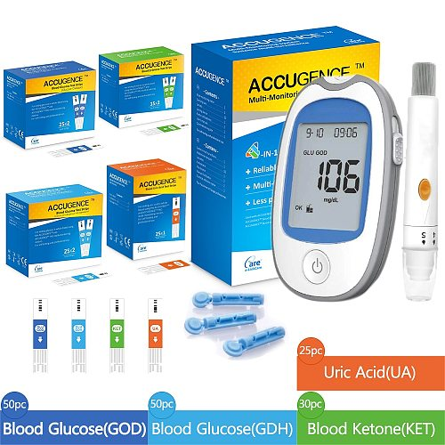 4in1 MultiFunction Meter Blood Ketone Uric Acid Blood Glucose Monitor Keto Diet KitDiabetes Gout Device with Test Strips&Lancets