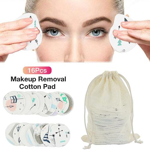 16Pcs/lot Facial Makeup Remover Reusable Cotton Pads Three Layer Wipe Pads Nail Art Cleaning Puff Washable With Laundry Bag