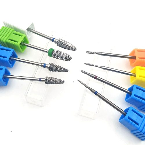 HYTOOS 1PCS Tungsten Carbide Burr Nail Drill Bit 3/32  Bits For Manicure Drill Accessories Milling Cutter Nail Art Tools