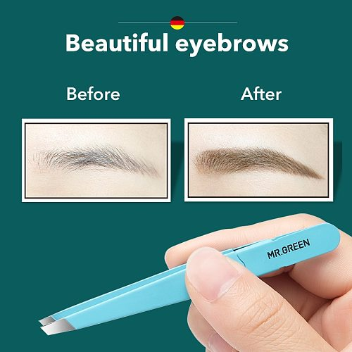 MR.GREEN  Eyebrow Tweezer Colorful Hair Beauty Fine Hairs Puller Stainless Steel Slanted Eye Brow Clips Removal Makeup Tools