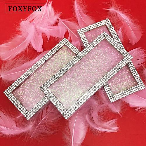 FOXYFOX Wholesale Empty Diamond Lash Box Bling Glitter Mink Eyelash Case without Eyelashes custom lash boxes packaging
