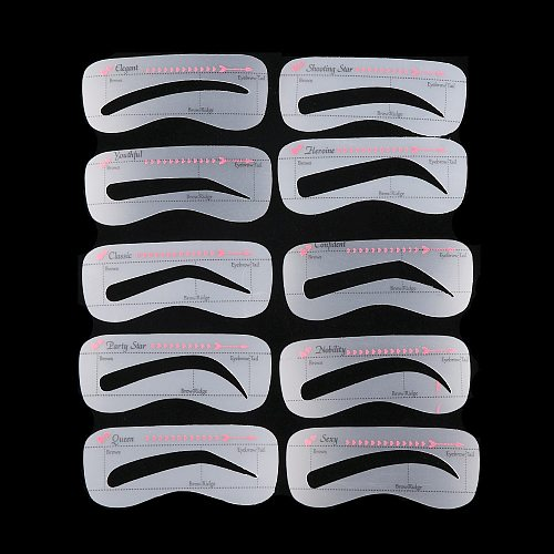 3/4/10 Style/Set Card Eyebrow Stencil Grooming Shaper Template Makeup Tools Eyebrow Stickers Card Eyebrow Cosmetic Tool