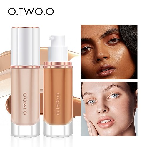 O.TWO.O Black Foundation Matte Cosmetics For Face Concealer Full Covering Moist Liquid Foundation Natural Whiten  Makeup Base