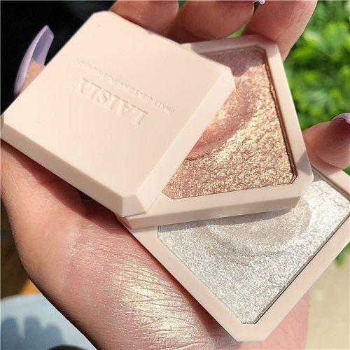 NewDouble-layer Highlighter Shadow Facial Makeup Face Bronzer High Gloss Shimmer Powder Makeup Cosmetic High-gloss Powder