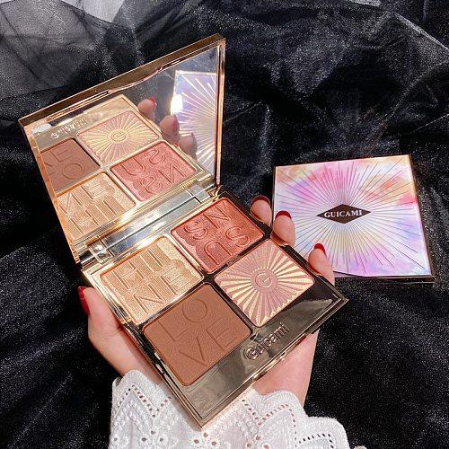 4 Color Illuminator Highlighter Bronzer Palette Makeup Highlight Face Blush Shimmer Powder Contour Palette Cheek Blush Cosmetic