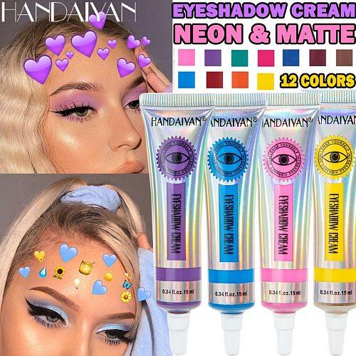 HANDAIYAN 12 Colors Matte Neon Eyeshadow High Pigment Easy to apply Yellow Green Eye Shadow Dust Summer Matte Eyeshadow Cream