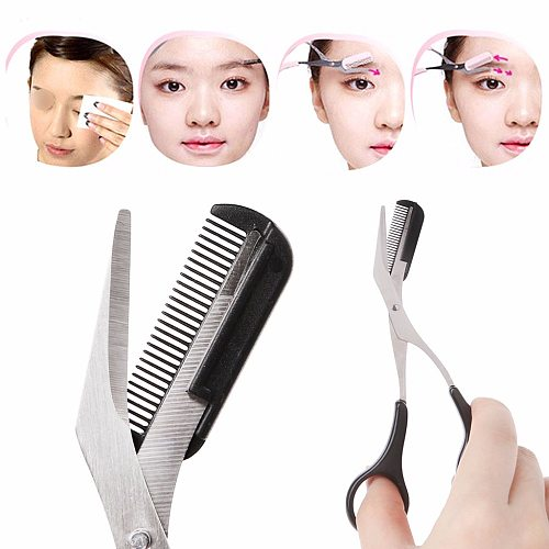 Women Stainless Steel Eyebrow Shaping Cut Scissors Comb Hair Remover Beauty Tool Shaver Makeup Tools Hair New Design