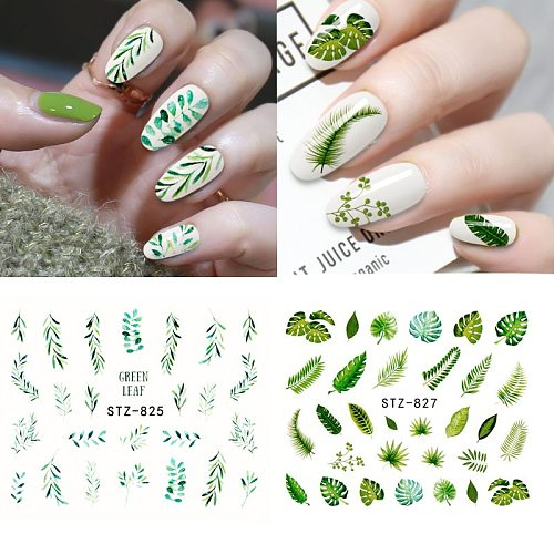 New arrival Nail Sticker Flower Leaf Tree Green Stickers for nails DIY Nail Art Decor Gel Polish Sticker Manicure Foils