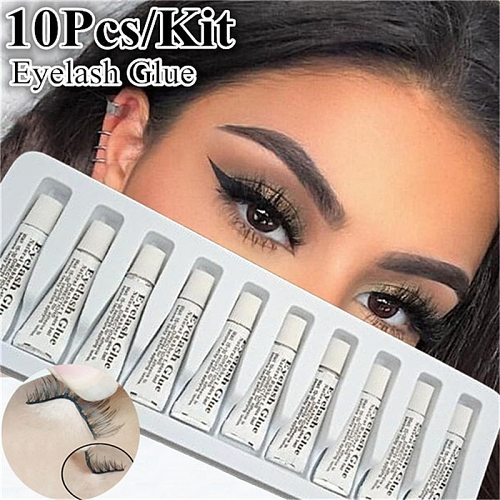 10Pcs/set Professional Eyelash Glue for lashes Strong Clear/Dark Waterproof Eye Lash Glue Adhesive Extensions for Makeup Tools