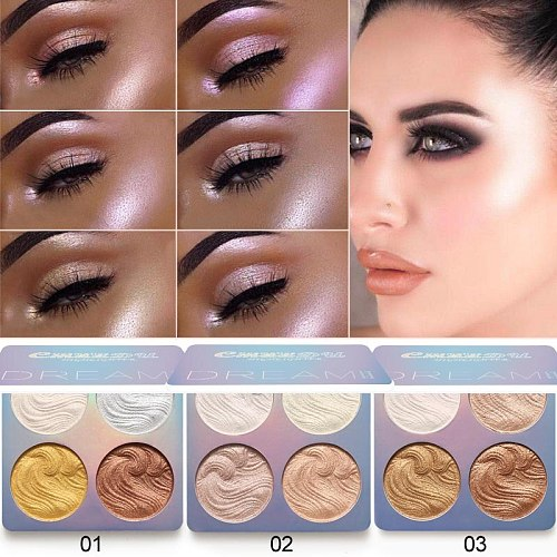 New 4 Colors Highlighter Facial Baking Eyeshadow Bronzers Palette Makeup Glow Repair Face Contour Shimmer Powder Palette TSLM2
