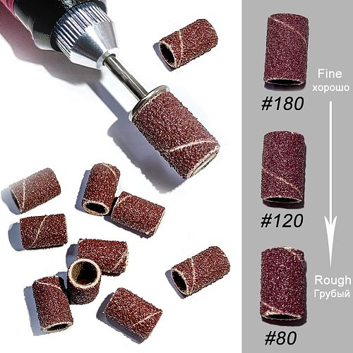 50/100pcs Nail Drill Bit Sanding Bands Electric Nail File Sander Gel Polish Remover Milling Cutter #80#120#180 Sand Rate SAND261