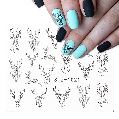 Black Animal Geometry Nail Water Decals Deer Fox Pig  Slider Sticker Nail Designs DIY Polish Manicure Accessory CHSTZ1018-1021