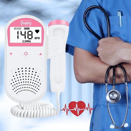 Ultrasound Detector Fetal Doppler Baby Heartbeat Detector Home Women Pregnant Doppler Stethoscope Pocket Doppler Monitor 2.5mzh