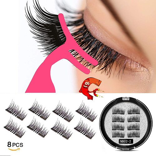 MB New 8Pcs Magnet Mink Lashes 100% Magnetic Eyelashes Natural Hair False Eye lashes 3D Fake Lash Fluffy Faux Cils magnetique