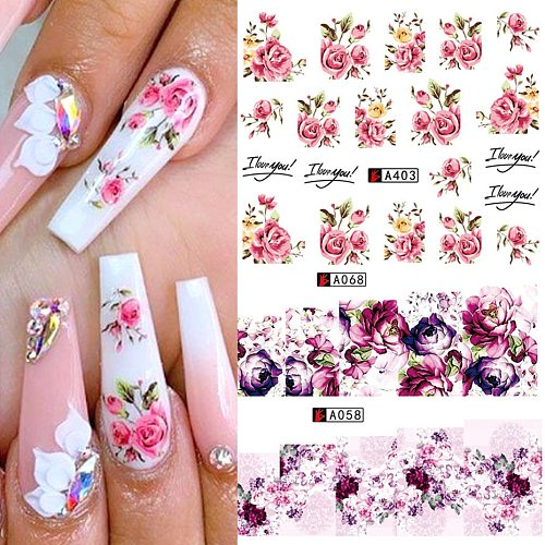 1pcs Flower Series Stickers For Nail Decoration Water Transfer Sticker Decals Foil Wraps Manicure Design DIY Slider NFA403