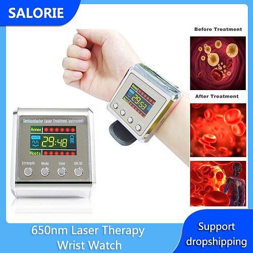 650nm Laser Therapy Wrist Watch LLLT for Diabetes Hypertension Cholesterol Sinusitis Treatment Lower Blood Sugar Purify Blood