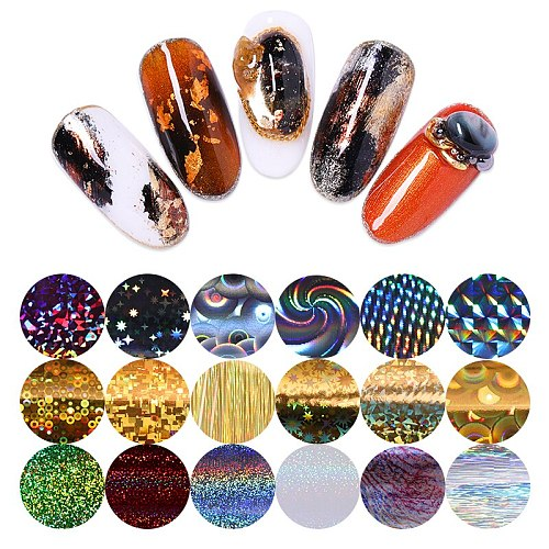 10 Design/set 2.5*100cm  Nail Art Transfer Foil Stickers Paper sparkly AB Color UV Gel Wraps Nail Adhesive Decals