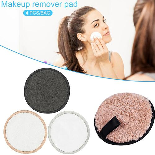 4Pcs Soft Fiber Lazy Makeup Remover Puff Double Sided Makeup Sponge Easy To Use Facial Wash Puff Beauty Make Up Remover Tools