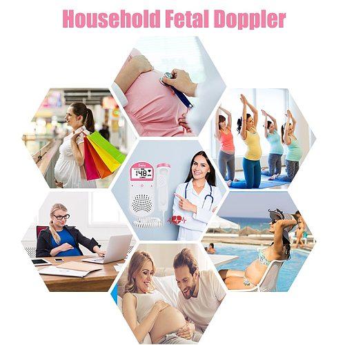 Portable Fetal Monitoring Baby Monitor Ultrasonic Baby Monitor 2.5MHz Pocket Ultrasonic Fetal Heartbeat Detector for Pregnant