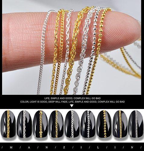 1PC Hot Fashion 3D Gold Silver Nail Metal 9 Styles Steel Ball Chain Punk Style UV Gel Polish DIY Nail Art Decorations Tool