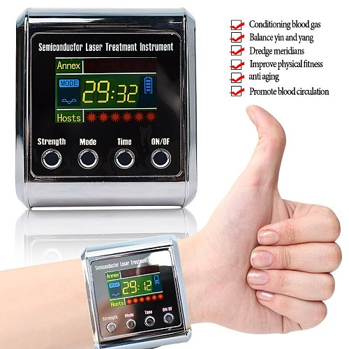 650nm Diode Laser Therapy Watch LLLT For Diabetes Cholesterol Hypertension Cerebral Thrombosis Physiotherapy Lower Blood Sugar