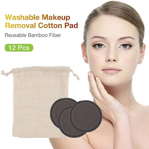 12PCS Washable Layer Makeup Removal Cotton Pad Reusable Bamboo Fiber Washable Rounds Pads For Face Eye