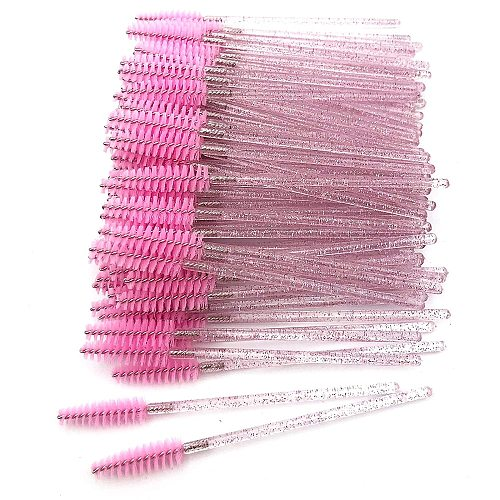 50/100Pcs Crystal Eyelash Brush Disposable Mascara Wands Eyelash Extension Microbrush Eyebrow Applicator Makeup Brush