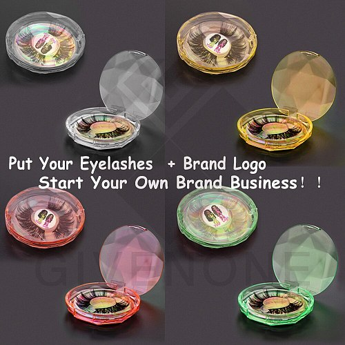 25MM Mink Lashes Packaging Boxes With Trays Wholesale Clear Crystal Round  Eyelash Package Boxes In Bulk Custom Logo