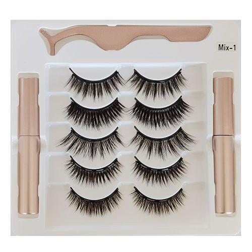 New 5 Pairs Maquillaje False Eyelashes & Tweezer Set Maquiagem Natural Lashes Makeup Faux Cils Double Liquid Eyelash Eyeliner