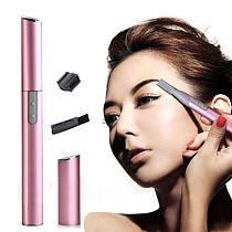 Pink color and black Practical Electric Face Eyebrow Scissors Hair Trimmer Mini Portable Women Body Shaver Remover Blade Razor
