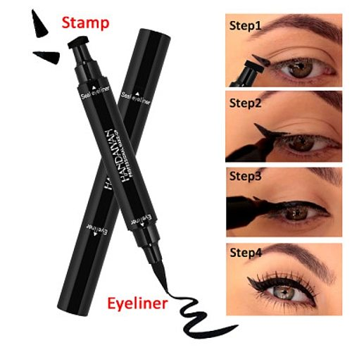 2In1 Eyeliner Stamp Liquid Eyeliner Pencil Makeup Super Waterproof Black Stamps Eye liner Quick Dry Eyeliner Cosmetic Tool TSLM1