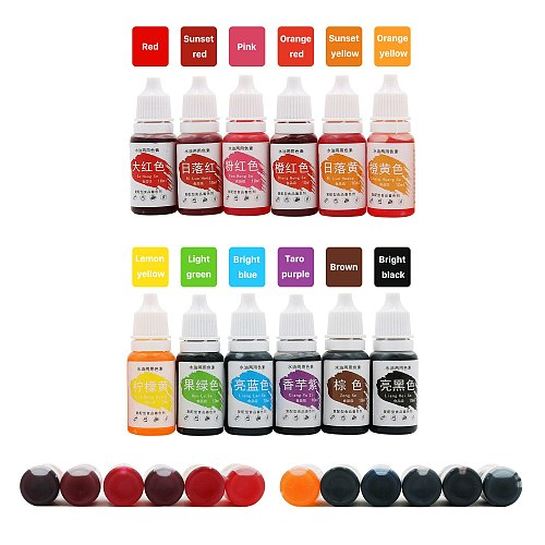 12 Colors Cake Food Coloring Set 10ml Natural Ink For Cake Decoration Colorful Airbrush Accessories For Temporary tattoo DIY