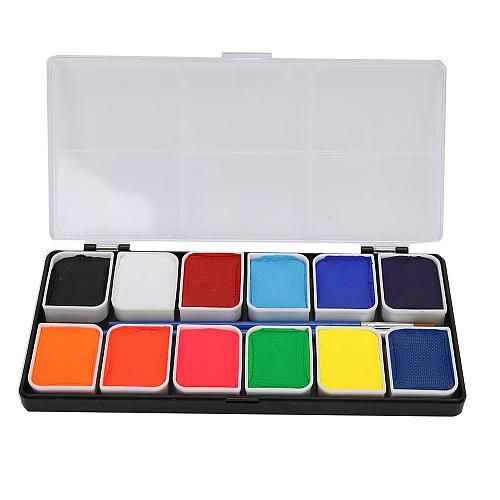 12Colors Face Body Paint Water-Based Halloween Party Ball Game Fan Fancy Body Art Makeup Pigment Body Painting Beauty MakeupTool