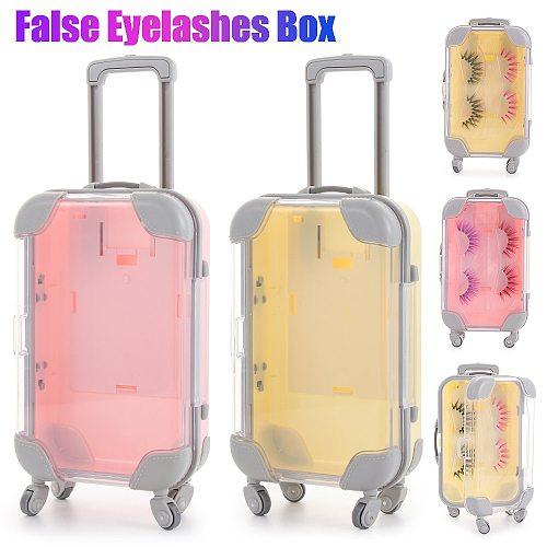 Mini trolley false eyelashes packaging box luggage lashes suitcase luxury mink lashes fluffy curly case empty Beauty Makeup Tool