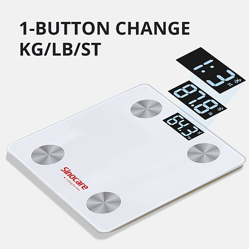 Sinocare Smart Body Fat Composition Scale Bathroom Scale Test 12 Body Date Mass BMI Health Weight Scale LED Display Bluetooth