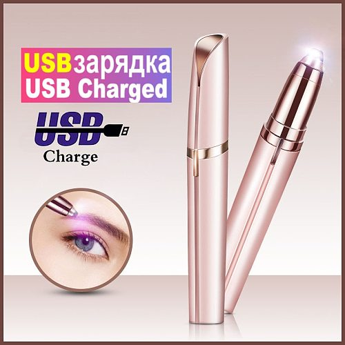 150mAh Electric Eyebrow Trimmer Pen Eyebrow Epilator USB Painless Eye Brow Trimmer for eyebrows remover Women Mini Makeup Tool