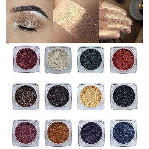 PHOERA 12 Color Glitter Pigment Eye Shadow Palette Waterproof Lasting Smokey Shimmer Eye Shadow Powder Green Makeup Set TSLM2