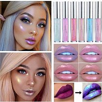 Glitter Liquid Lipstick Lip Plumper Gloss Crystal Glow Laser Holographic Lipsticks Mermaid Pigment Shiny Lipgloss Tube Makeup