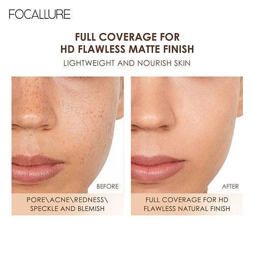FOCALLURE Pore-Blurring Matte Foundation Base Makeup Face Oil-control Cosmetics Lightweight Matt Finish Foundation