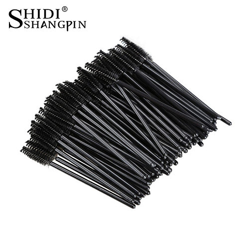 SHIDISHANGPIN Disposable Eyelash Eye Lash Makeup Brush Mini Mascara Wands Brush Eyelash Extension Tools for Beauty