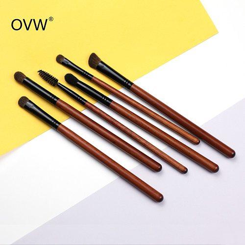 OVW 6pcs Pony/ Goat Hair Makeup Eye Shadow Brush Set Tapered Blending Brush Make up Brushes Natural Hair Pro Kit