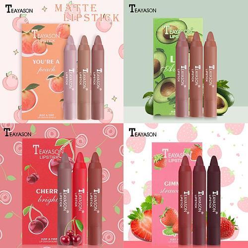 Matte Lipstick Set Maquillaje 3PCS Make Up Lipstick Makeup Beauty Cosmetic Non-stick Cup Non-fading Cosmetic Waterproof TSLM1