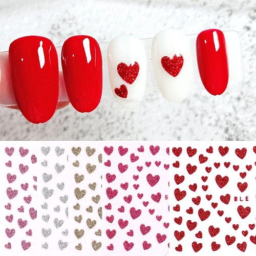 1pc 3D Nail Slider Love Heart Design Glitter Shiny Decoration Decal DIY Transfer Adhesive Colorful Nail Art Tips Tattoo Manicure